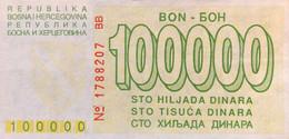 Bosnia 100.000 Dinara, P-30 (1.8.1993) - UNC - Rare In This Condition - Bosnia Erzegovina