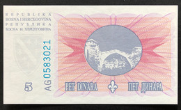 Bosnia 5 Dinara, P-40 (15.8.1994) - UNC - Bosnia Erzegovina