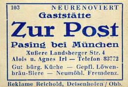 1 Altes Gasthausetikett, Gaststätte Zur Post, Alois U. Agnes Irl, Pasing Bei München, Äußere Landsberger Str. 4 #1026 - Matchbox Labels