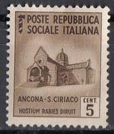 Repubblica Sociale Italiana 1944 Uf. 502 Monumenti Distrutti Ancona S. Ciriaco 5 Cent Nuovo Senza Colla Italia Italy - Mint/hinged
