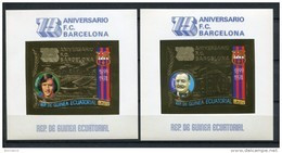 Guinea Ecuatorial 1974. Mi Block A136-A137 Golden Imperforated ** MNH. 75 A. FC Barcelona. - Equatorial Guinea