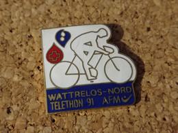 PINS CYCLISME VELO WATTRELOS NORD TELETHON 91 AFM - Ciclismo