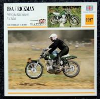 Collection Fiches ATLAS - MOTO - BSA / RICKMAN 500 Gold Star Métisse - Vic ALLAN - 1957 - Autres
