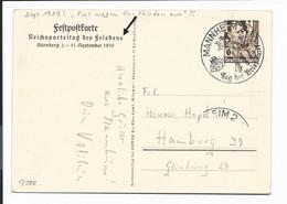 DR P 282 - 6 Pf  Hitler Reichsparteitag  Mit  Sonderstempel Mannheim Und Grußtext - Postwaardestukken