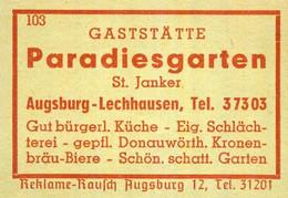 1 Altes Gasthausetikett, Gaststätte Paradiesgarten, St. Janker, Augsburg-Lechhausen #1031 - Matchbox Labels