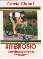 GIANNI BUGNO SIGNEE CHAMPION DU MONDE FORMAT 15 CMS X 21 CMS AMBROSIO - Cycling