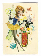 Carte Brodée Magicienne - Embroidered