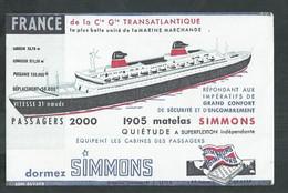Buvard. Paquebot France Et Matelas Simmons Offert Par Les Galeries Rémoises à Reims (Marne) - Transport
