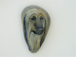 Original Painting Of An Afghan Hound Hand Painted On A Smooth Beach Stone Paperweight Decoration - Dogs