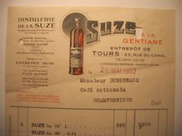 Z082 - Facture De 1956 - DISTILLERIE DE LA SUZE - A LA GENTIANE - 25 Rue Du Canal à TOURS 37 - Frankreich