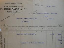 Z085 - Facture De 1921 - F. COULOMBE & Cie à FLERS DE L'ORNE - Frankreich