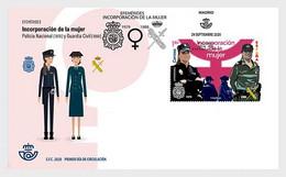 Spain 2020 Espagne Inclusion Women National Police Civil Guard Service Medal Insigne  Uniform 1v FDC - Polizei - Gendarmerie