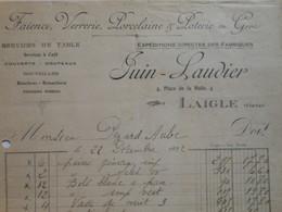 Z089 - Facture De 1922 - FAIENCE VERRERIE PORCELAINE POTERIE - JUIN LAUDIER 4 Place De La Halle à LAIGLE - Orne - Frankreich