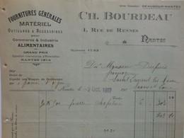 Z090 - Facture De 1917 - FOURNITURES GENERALES POUR ALIMENTAIRES - CH. BOURDEAU - 1 Rue De Rennes à NANTES - Frankreich