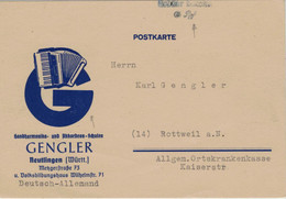 Gengler Handharmonika- & Akkordeon-Schulen Reutlingen - Gebühr Bezahlt 6 Rpf. Nach Rottweil 15.11.1945 - Zona Francese