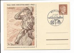DR P 308a - 01 - 3 Pf Hitler Afrikakorps M. Bl Sonderstempel Zum Tag Der Briefmarke 1942 Berlin - Postwaardestukken