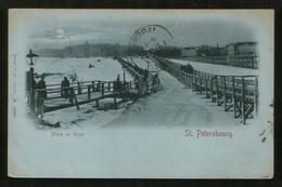 Russia 1899 Old Postcard St. Petersburg. Bridge Across The Neva, Number Postmark - Russia
