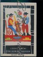 M2-57 CZECHOSLOVAKIA 1963 1963 Folk Art Treasury Nation Embroidery Bordado -musicians - Bassist And Violinist - Matchbox Labels
