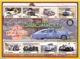 Gambia 2000 Classic Marathon 8v M/s, (Mint NH), Transport - Automobiles - Sport - Autosports - Cars