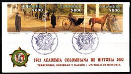 COLOMBIA- KOLUMBIEN- 2002 FDC/SPD. COLOMBIAN ACADEMY OF HISTORY. SINGLE. - Colombia