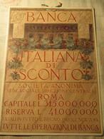 Locandina Banca Italiana Di Sconto / Anni 20 - Plaques En Carton
