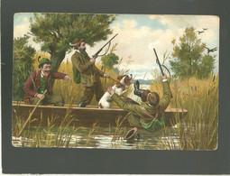 3 Chasseurs Au Tir Au Canard Sur Une Barque Avec Un Chien édit. K.F. Série 739 , Chasse à Tir - Chasse