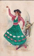 Carte Brodée Illustrateur Signé   Flamenco  Recto Verso - Embroidered