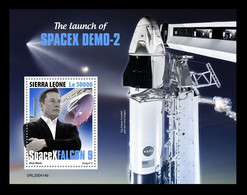 Sierra Leone 2020 Mih. 11977 (Bl.1915) Space. SpaceX Demo-2. Elon Musk MNH ** - Sierra Leone (1961-...)