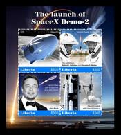 Liberia 2020 Mih. 7776/79 Space. SpaceX Demo-2. Elon Musk MNH ** - Liberia