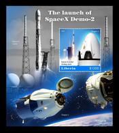 Liberia 2020 Mih. 7780 (Bl.845) Space. SpaceX Demo-2 MNH ** - Liberia
