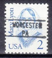 USA Precancel Vorausentwertung Preo, Locals Pennsylvania, Worchester 895 - Prematasellado