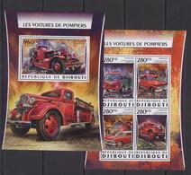 DJ036 2016 DJIBOUTI TRANSPORT FIRE TRUCKS ENGINES VOITURES POMPIERS KB+BL MNH - Vrachtwagens