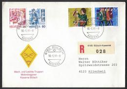 """LA57      Motiv Brief """"Mech. Und Leichte Truppen Motordragoner"""" - Registered Bülach-Kaserne To Allschwil 1991 - Brieven En Documenten"""