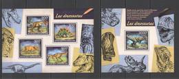 CA536 2014 CENTRAL AFRICA CENTRAFRICAINE FAUNA PREHISTORIC ANIMALS DINOSAURS KB+BL MNH - Prehistóricos