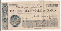 1930 CHEQUE BANQUE REGIONALE DU GARD   C1149 - Cheques & Traverler's Cheques