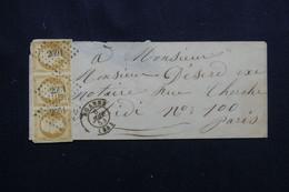 FRANCE - Enveloppe De Roanne Pour Paris En 1854, Affranchissement Napoléon 10ct En Bande De 3, PC 2691 - L 72187 - 1849-1876: Periodo Clásico