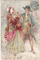 Illustrateur : Non Signé : Sur Le Chemin Du Village : Couple D'amoureux Des Années 1900 : Précuseur : - 1900-1949