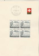 Suisse FDC Yvert 548 Bloc De 4 Pro Patria Bern 1/6/1954 Sur Feuillet - FDC