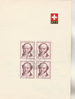 Suisse FDC Yvert 553 Bloc De 4 Pro Juventute Jeremias Gotthelf Basel 21/12/1954 Sur Feuillet - FDC