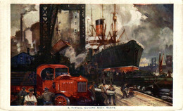 A Typical Cunard Dock Scene. Barcos Boats Bateau Navire - Barche