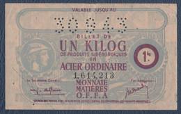 Rationnement.Carte D'alimentation.Monnaie,matières, Billet De 1 Kg D'acier Ordinaire. - Unclassified