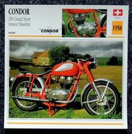 Collection Fiches ATLAS - MOTO - CONDOR 250 Grand Sport - Moteur MASERATI - 1958 - Autres