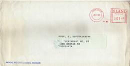 Island Reykjavik Red Meter Stamp 1981 Via Yugoslavia,cover Nordic Volcanological Institute - Lettres & Documents