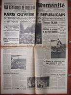 Journal L'Humanité (27 Mai 1947) Paris Ouvrier Réclame... - Sauvetage Du Vichysme - Zonder Classificatie