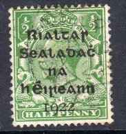 Ireland 1922 ½d Rialtas Black Overprint Definitive, Dollard Printing, Used, SG 1 - 1922 Governo Provvisorio