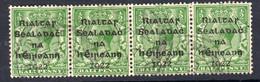 Ireland 1922 ½d Rialtas Black Overprint Definitive Strip Of 4, Dollard Printing, Used, SG 1 - 1922 Governo Provvisorio