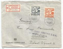 CURACAO LUCHTPOST 15C+45C LETTRE COVER REC WILLEMSTAD 27.1.1939  TO WIESBADEN + GRIFFE PAR AVION JUSQU'AUX E.U.A. USA - Curaçao, Nederlandse Antillen, Aruba