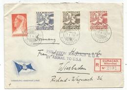 CURACAO LUCHTPOST 50C+25C+35C LETTRE COVER REC WILLEMSTAD 27.1.1939  TO WIESBADEN+ GRIFFE PAR AVION JUSQU'AUX E.U.A. USA - Curaçao, Nederlandse Antillen, Aruba