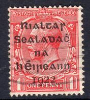 Ireland 1922 1d Rialtas Black Overprint Definitive, Dollard Printing, Used, SG 2 - 1922 Governo Provvisorio