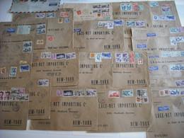 28 Lettres Pour New-York ( Grand Format) Dont Certaines Taxées. 3 Lettres Tarif échantillon. - Air Post